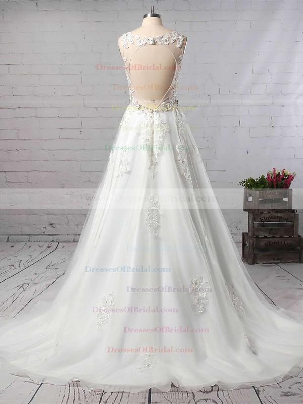Organza Princess V-neck Court Train Beading Wedding Dresses #DOB00023147