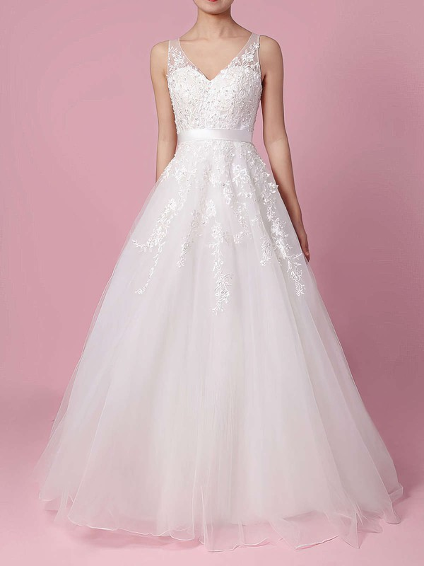 Tulle A-line V-neck Sweep Train Beading Wedding Dresses #DOB00023164
