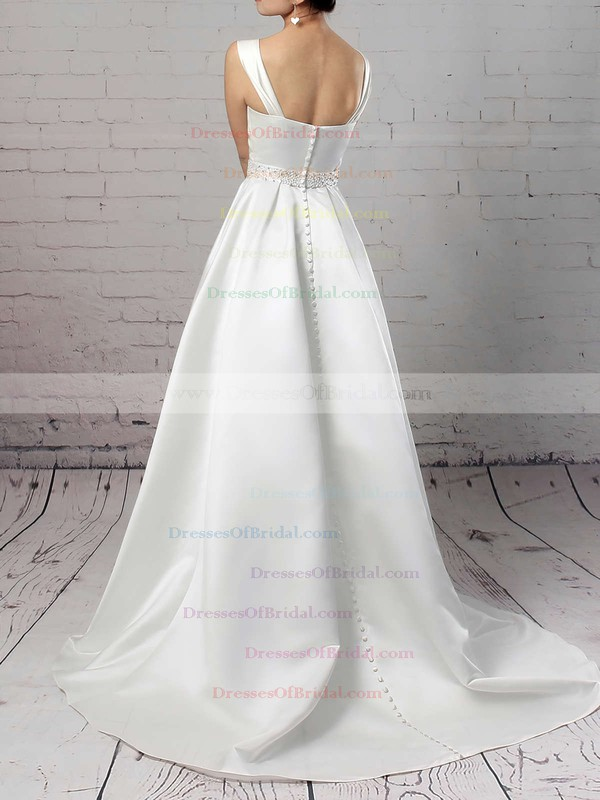 Satin Ball Gown Square Neckline Sweep Train Beading Wedding Dresses #DOB00023171