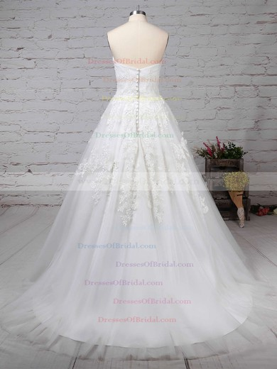 Tulle Ball Gown Strapless Sweep Train Appliques Lace Wedding Dresses #DOB00023175
