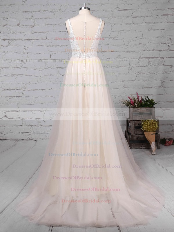Tulle Princess Scoop Neck Sweep Train Lace Wedding Dresses #DOB00023182