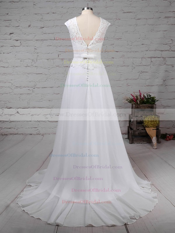 Lace Chiffon A-line Scoop Neck Sweep Train Beading Wedding Dresses #DOB00023197