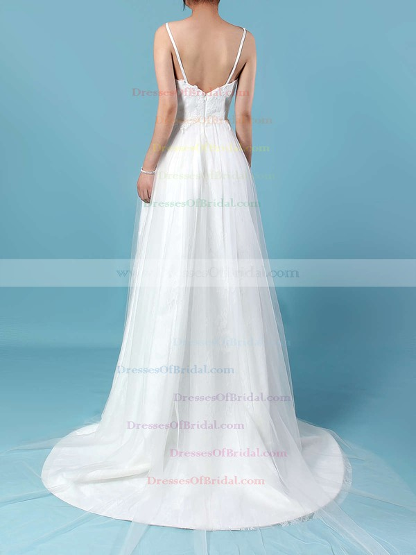 Tulle Lace A-line V-neck Sweep Train Appliques Lace Wedding Dresses #DOB00023211