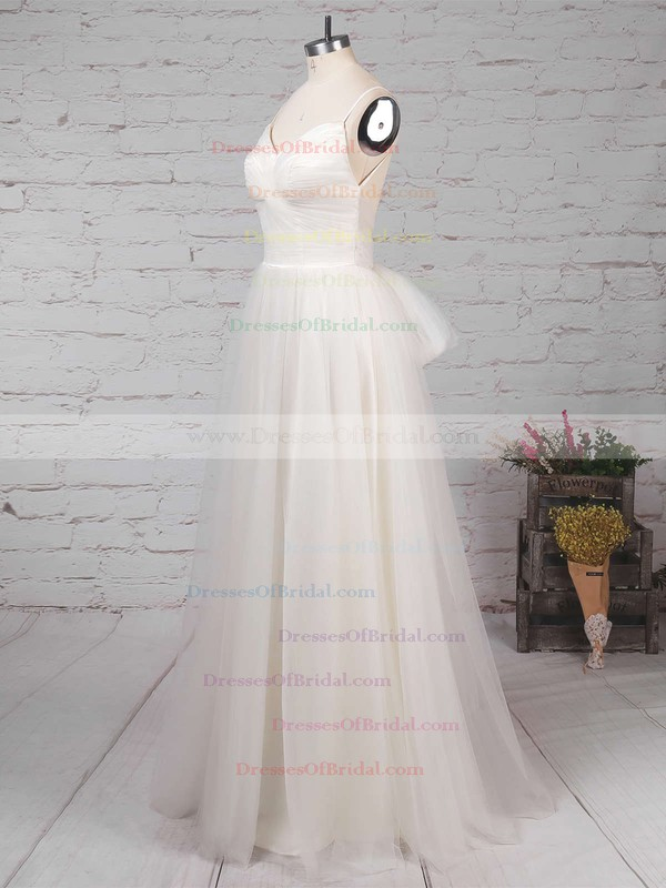 Tulle A-line V-neck Floor-length Ruffles Wedding Dresses #DOB00023214