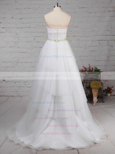 Tulle Ball Gown Sweetheart Sweep Train Beading Wedding Dresses #DOB00023216