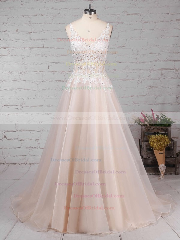 Tulle Ball Gown V-neck Sweep Train Appliques Lace Wedding Dresses #DOB00023220