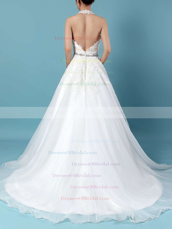 Tulle Ball Gown Halter Sweep Train Beading Wedding Dresses #DOB00023223