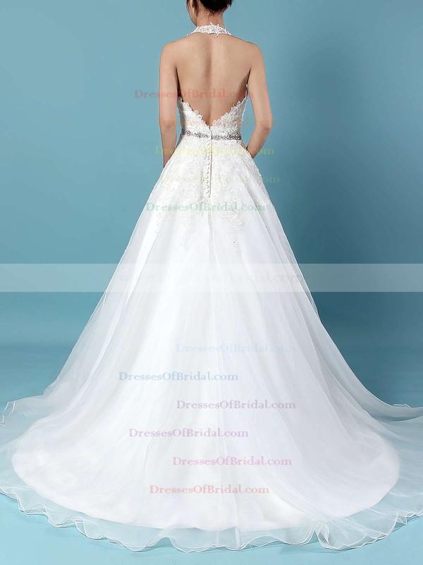 Tulle Ball Gown Halter Sweep Train Beading Wedding Dresses #DOB00023223