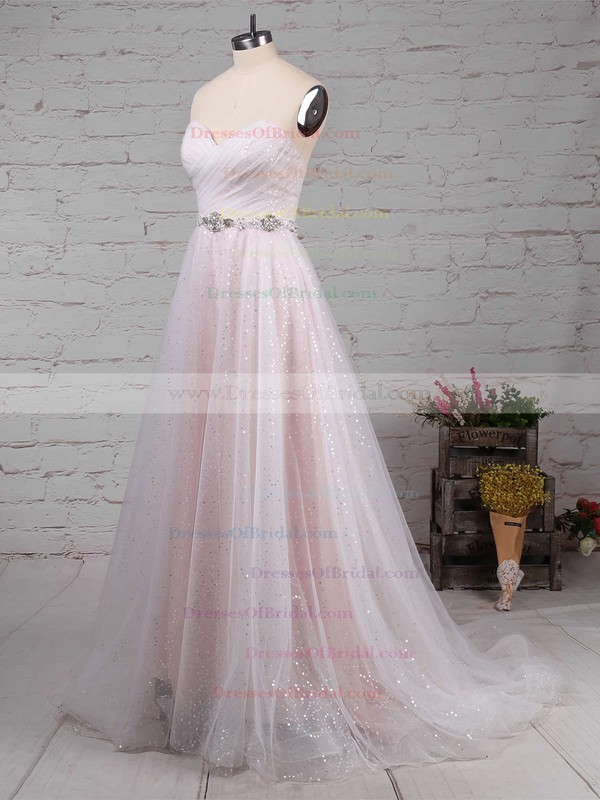 Tulle Sequined Princess Sweetheart Sweep Train Beading Wedding Dresses #DOB00023234