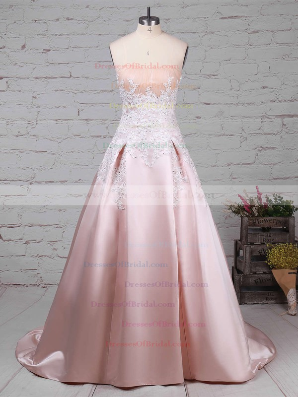 Satin Ball Gown Strapless Sweep Train Appliques Lace Wedding Dresses #DOB00023235