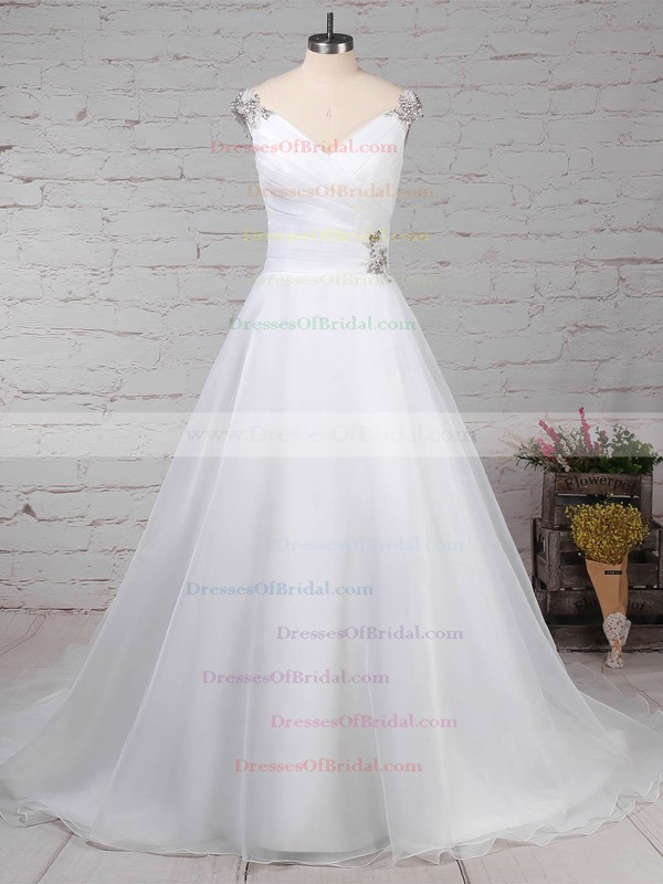 Organza Tulle Ball Gown V-neck Sweep Train Beading Wedding Dresses #DOB00023237