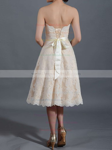 Sweetheart A-line Knee-length Lace Satin Sashes/Ribbons Wedding Dresses #DOB00020467