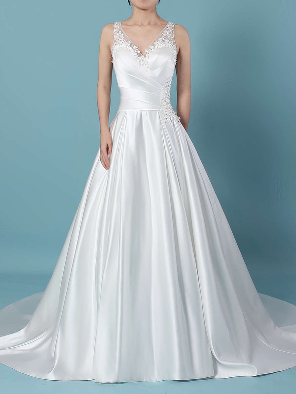 Satin Tulle Ball Gown V-neck Sweep Train Beading Wedding Dresses #DOB00023239