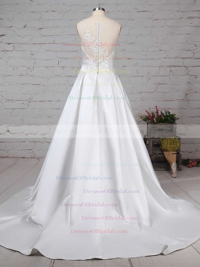 Satin Tulle Ball Gown V-neck Sweep Train Beading Wedding Dresses #DOB00023239