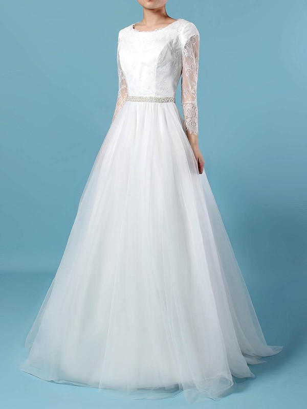 Lace Tulle Princess Scoop Neck Sweep Train Beading Wedding Dresses #DOB00023246