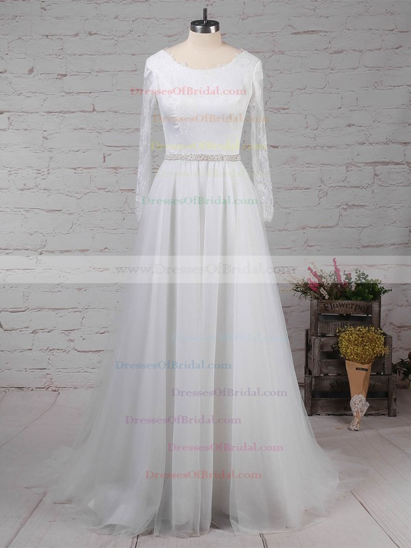 Lace Tulle Princess Scoop Neck Sweep Train Beading Wedding Dresses #DOB00023246
