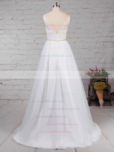 Lace Tulle Princess Scoop Neck Sweep Train Beading Wedding Dresses #DOB00023247