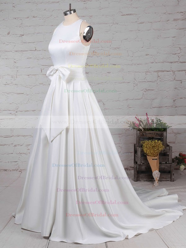 Satin Ball Gown Scoop Neck Sweep Train Bow Wedding Dresses #DOB00023255