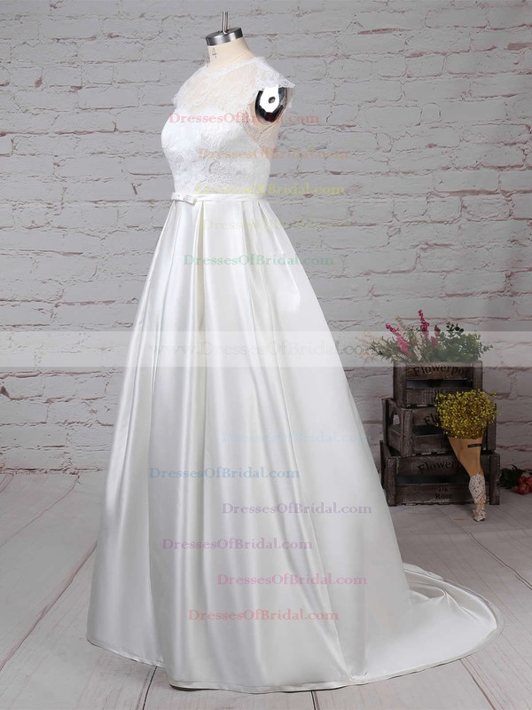 Lace Satin Ball Gown Scoop Neck Sweep Train Pockets Wedding Dresses #DOB00023263