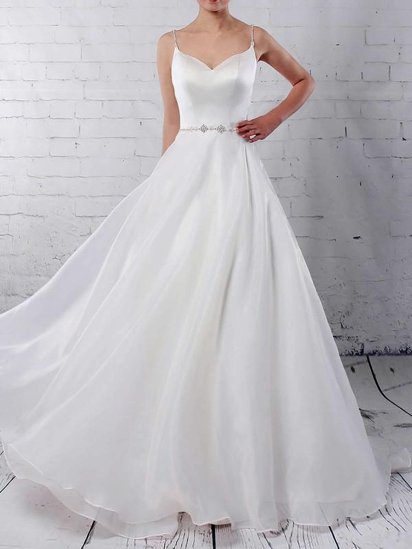 Organza Ball Gown V-neck Sweep Train Beading Wedding Dresses #DOB00023277