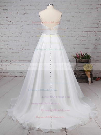 Organza Ball Gown V-neck Sweep Train Beading Wedding Dresses #DOB00023277