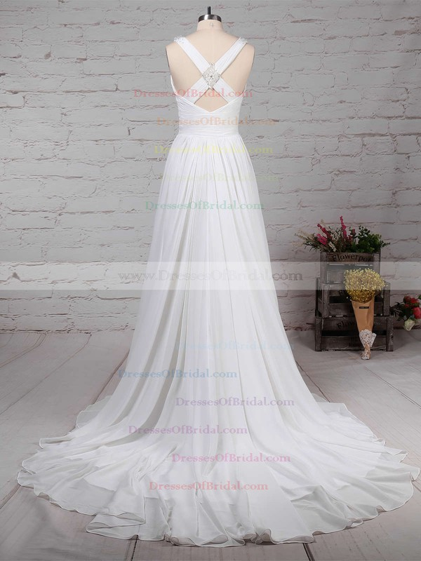 Chiffon A-line V-neck Sweep Train Beading Wedding Dresses #DOB00023289