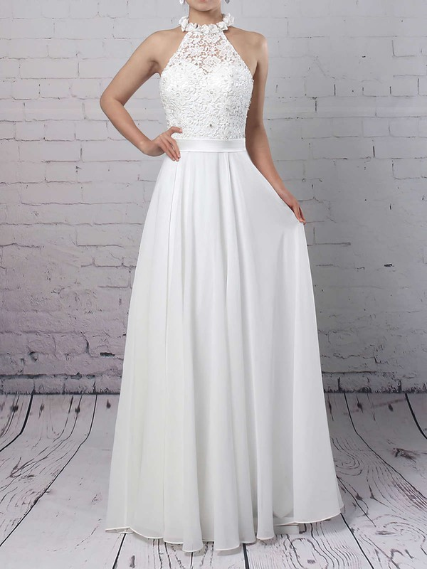 Lace Chiffon A-line High Neck Floor-length Beading Wedding Dresses #DOB00023296