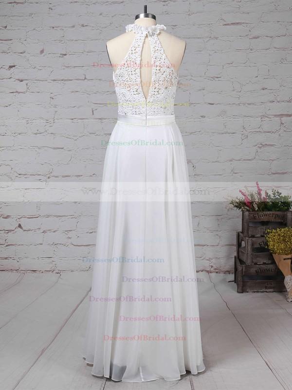 Lace Chiffon A-line High Neck Floor-length Beading Wedding Dresses #DOB00023296