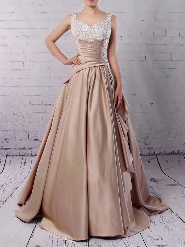 Satin Ball Gown V-neck Sweep Train Appliques Lace Wedding Dresses #DOB00023307