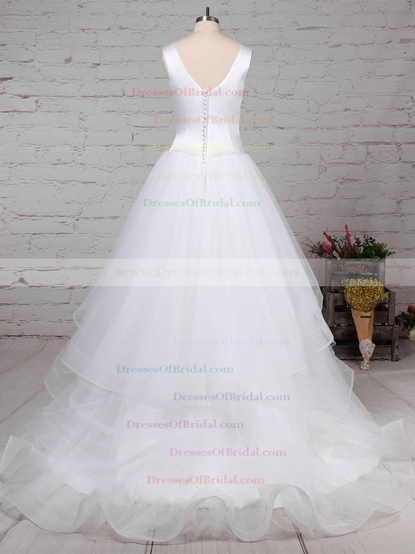 Satin Tulle Ball Gown V-neck Sweep Train Tiered Wedding Dresses #DOB00023312