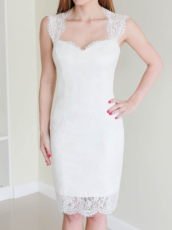 Queen-anne Sheath/Column Knee-length Lace Satin Buttons Wedding Dresses #DOB00020468
