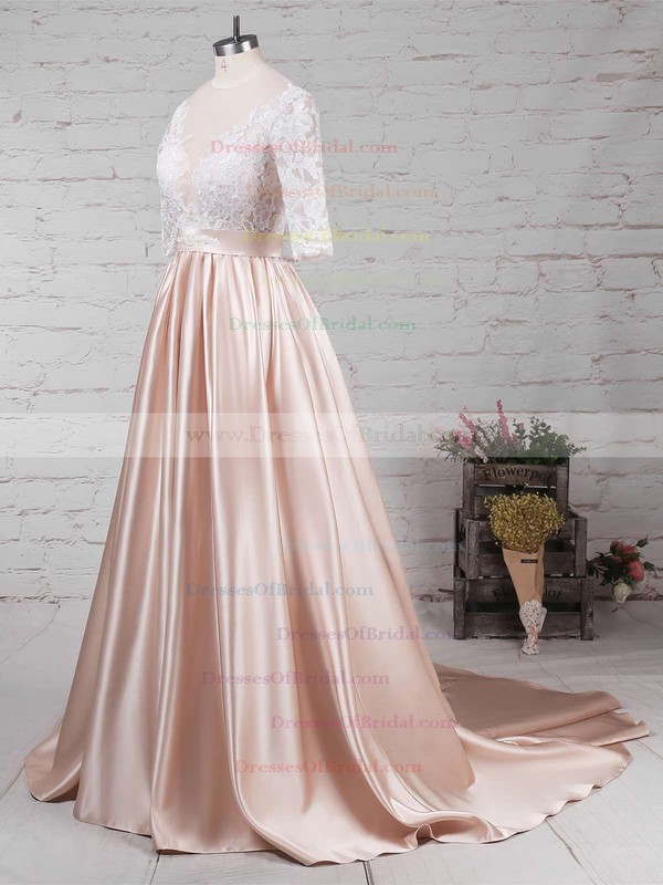 Satin Tulle Ball Gown Scoop Neck Sweep Train Appliques Lace Wedding Dresses #DOB00023314