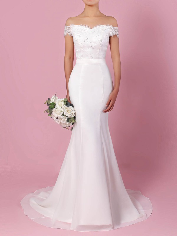 Lace Chiffon Trumpet/Mermaid Off-the-shoulder Sweep Train Sashes / Ribbons Wedding Dresses #DOB00023358