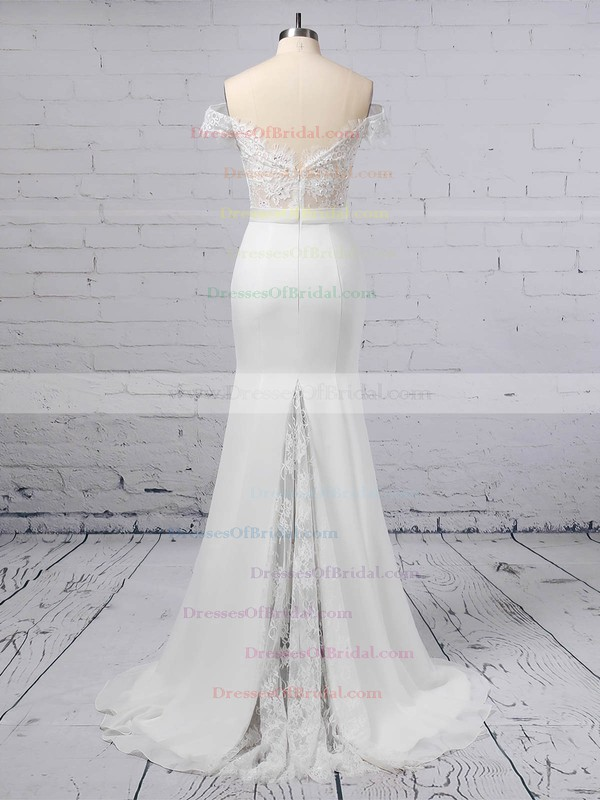 Lace Chiffon Trumpet/Mermaid Off-the-shoulder Sweep Train Sashes / Ribbons Wedding Dresses #DOB00023358