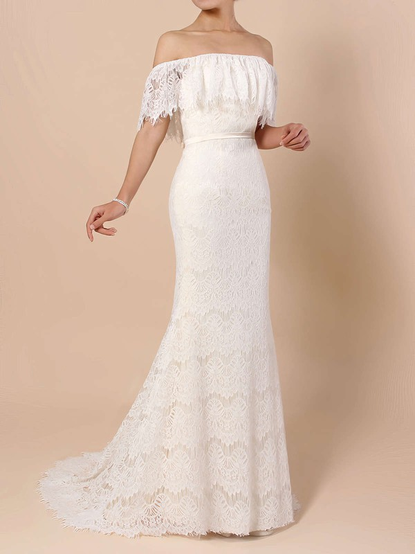 Lace Trumpet/Mermaid Off-the-shoulder Sweep Train Sashes / Ribbons Wedding Dresses #DOB00023361