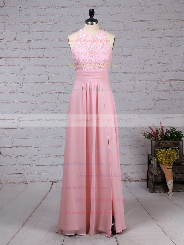 A-line Scoop Neck Lace Chiffon Floor-length Ruffles Bridesmaid Dresses #DOB01013465