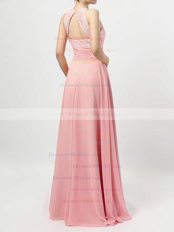 A-line Scoop Neck Lace Chiffon Floor-length Ruffles Bridesmaid Dresses #DOB01013465