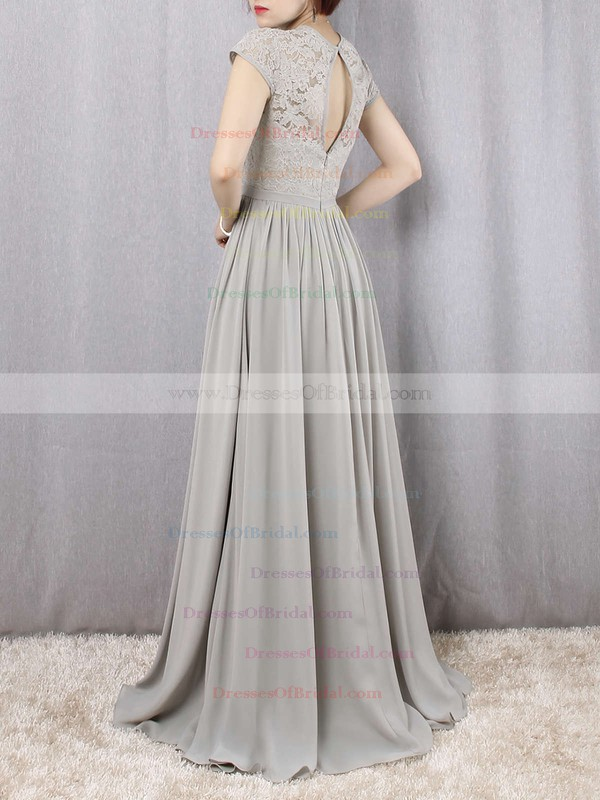 A-line Scoop Neck Lace Chiffon Floor-length Sashes / Ribbons Bridesmaid Dresses #DOB01013469