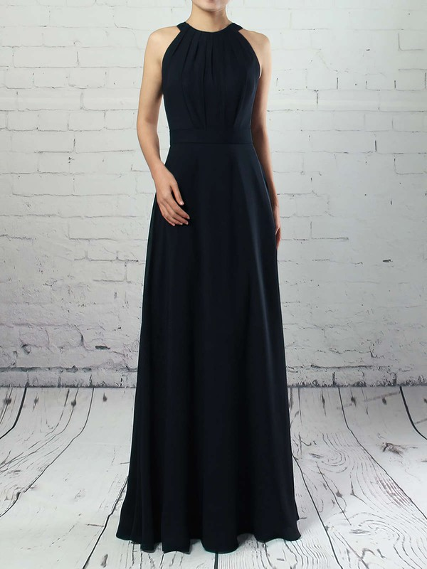 A-line Scoop Neck Chiffon Floor-length Sashes / Ribbons Bridesmaid Dresses #DOB01013472