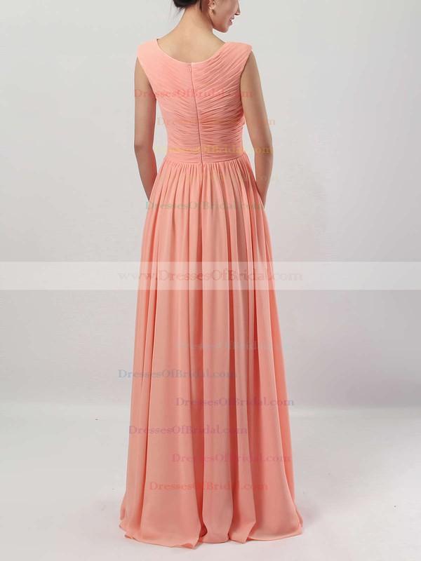 A-line V-neck Chiffon Floor-length Ruffles Bridesmaid Dresses #DOB01013494