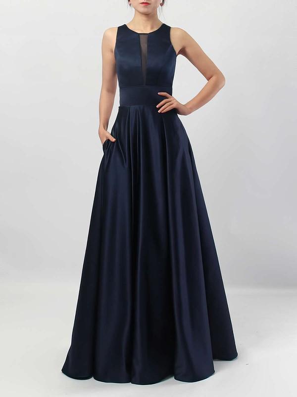 A-line Scoop Neck Satin Floor-length Pockets Bridesmaid Dresses #DOB01013558