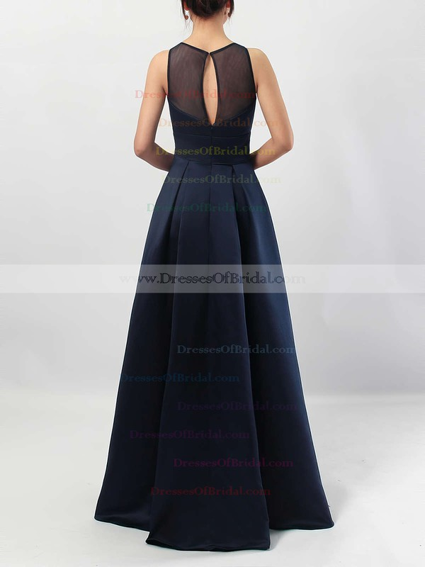A-line Scoop Neck Satin Floor-length Pockets Bridesmaid Dresses #DOB01013558