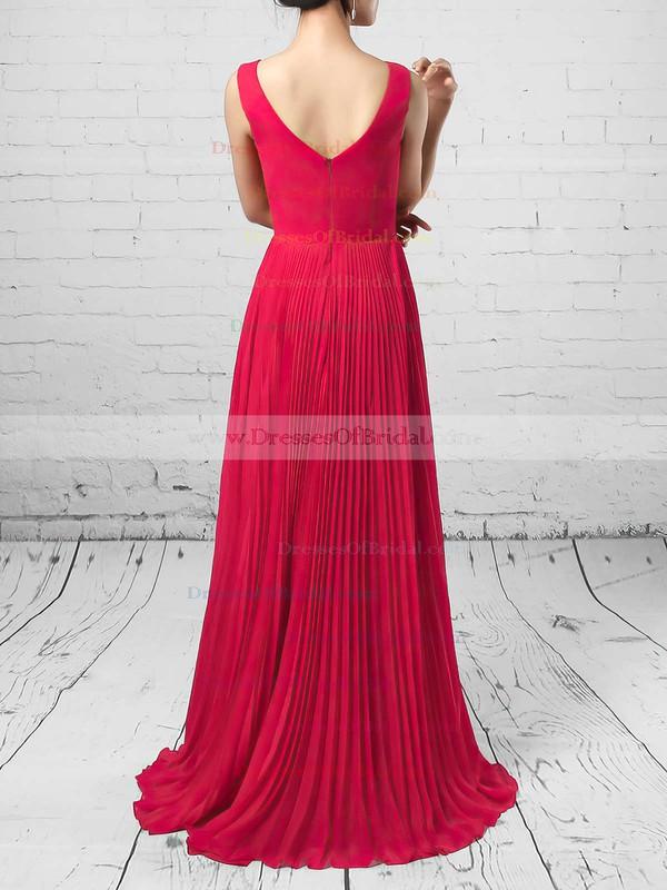 A-line V-neck Chiffon Floor-length Split Front Bridesmaid Dresses #DOB01013579