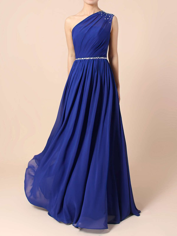 A-line One Shoulder Chiffon Floor-length Beading Bridesmaid Dresses #DOB01013586