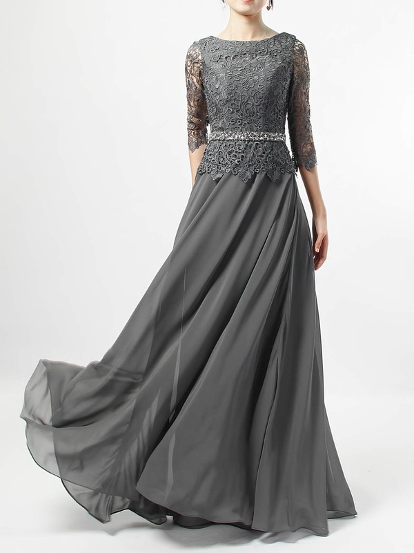 A-line Scoop Neck Lace Chiffon Floor-length Beading Mother of the Bride Dresses #DOB01021711