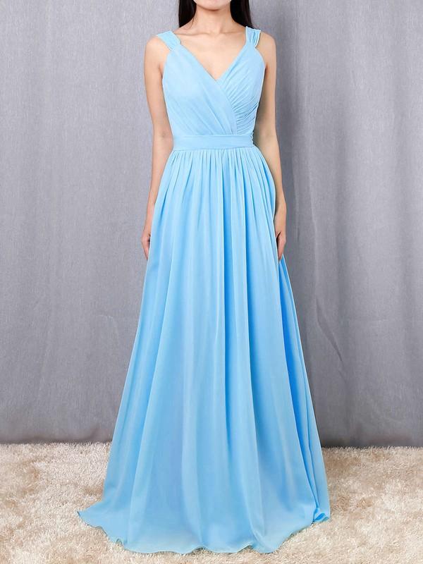 A-line V-neck Chiffon Floor-length Sashes / Ribbons Bridesmaid Dresses #DOB01013520