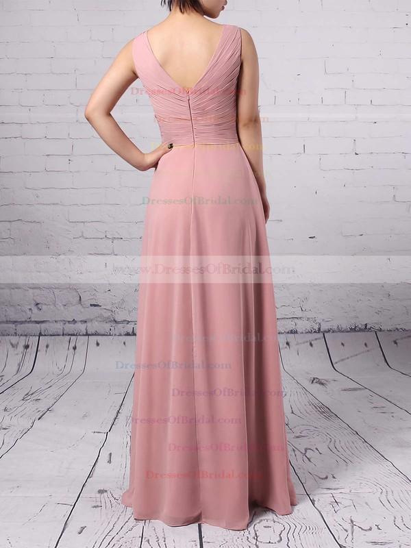 Empire V-neck Chiffon Floor-length Ruffles Bridesmaid Dresses #DOB01013481