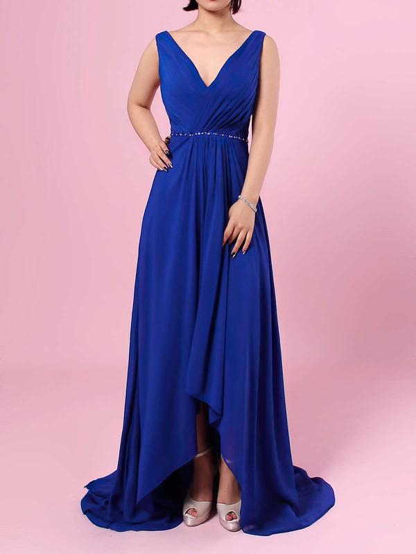 A-line V-neck Chiffon Asymmetrical Beading Bridesmaid Dresses #DOB01013565