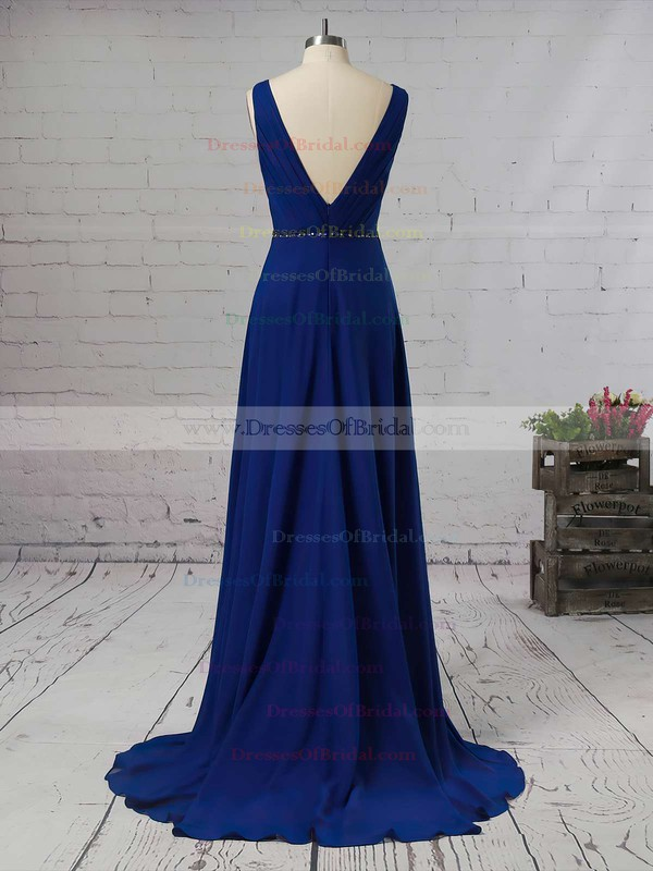 A-line V-neck Chiffon Asymmetrical Beading Bridesmaid Dresses #DOB01013565