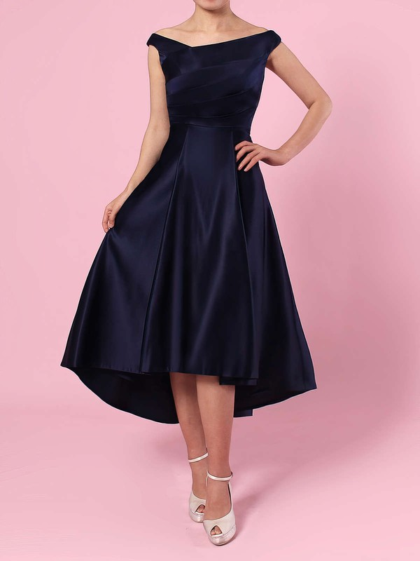 A-line Off-the-shoulder Satin Asymmetrical Ruffles Bridesmaid Dresses #DOB01013570